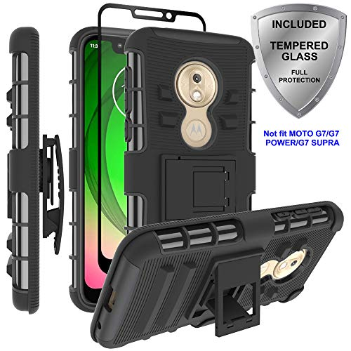 Moto G7 Play Case, ChangeJ Military Grade Protection with Tempered Glass Screen Protector Holster Belt Clip Amor Case for Motorola Moto G7 Play - Black