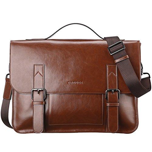 Banuce Vintage PU Leather Tote Briefcase for Men Laptop Shoulder Messenger (Mens Briefcase)