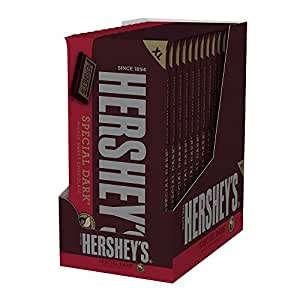HERSHEY'S SPECIAL DARK Bar, Mildly Sweet Chocolate Candy Bar, 4.25 Ounce Bar (Pack of 12)