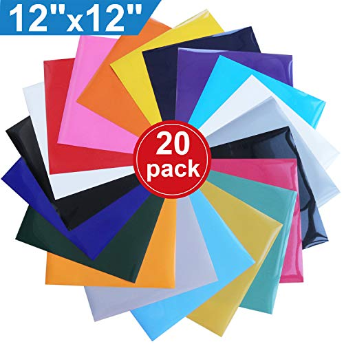 Heat Transfer Vinyl for T-Shirts , 20 Pack - 12''x 12'' Sheets - 18 Assorted Colors , Iron On HTV for Cricut and Silhouette Cameo by XPCARE