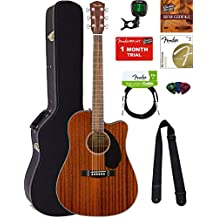 Fender CD-60SCE Dreadnought Acoustic-Electric Guitar - All Mahogany Bundle with Hard Case, Tuner, Strap, Strings, Picks, Austin Bazaar Instructional DVD, and Polishing Cloth