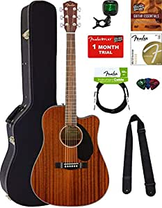 fender cd 60sce dreadnought acoustic electric guitar all mahogany bundle with hard. Black Bedroom Furniture Sets. Home Design Ideas
