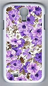 Samsung Galaxy S4 I9500 White Hard Case - Purple Pattern Galaxy S4 Cases