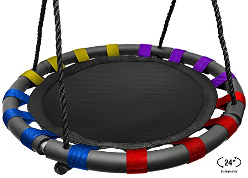 (Sorbus Spinner Swing - Kids Indoor/Outdoor Round Mat Swing - Great for Tree, Swing Set, Backyard, Playground, Playroom - Accessories Included (24 Inch, Multi-Color Mat Seat))