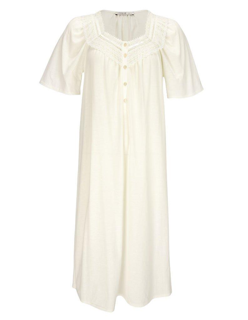 Feraud 3883040-10044 Women's Champagne White Cotton Night Gown Loungewear 12 by Feraud (Image #3)