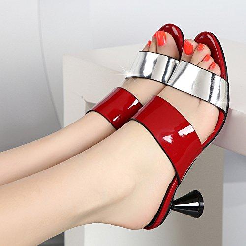 Verano Mujer alto gruesas Rojo de transpirable SCLOTHS hebilla Chanclas con tacón F7ngq4Ex