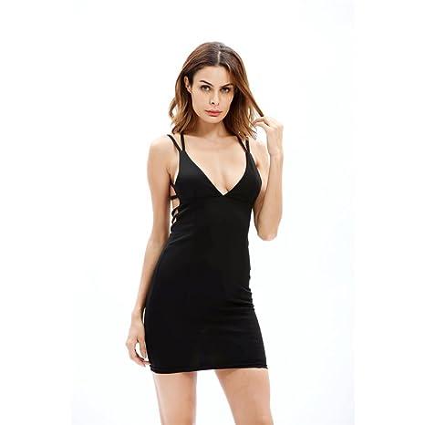Vestido de mujer Sexy Sin mangas Delgado Bodycon Apretado Elástico Camisola Escotado por detrás Casual playa