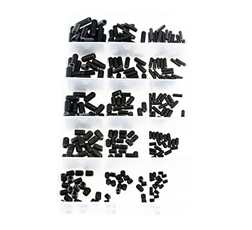 XLX 300pcs M3/4/5 Allen Head Socket Hex Grub Screw Set Assortment Kit with Plastic Box 12.9 Class Black Alloy Steel (Allen Socket Hex Grub Screw Set)