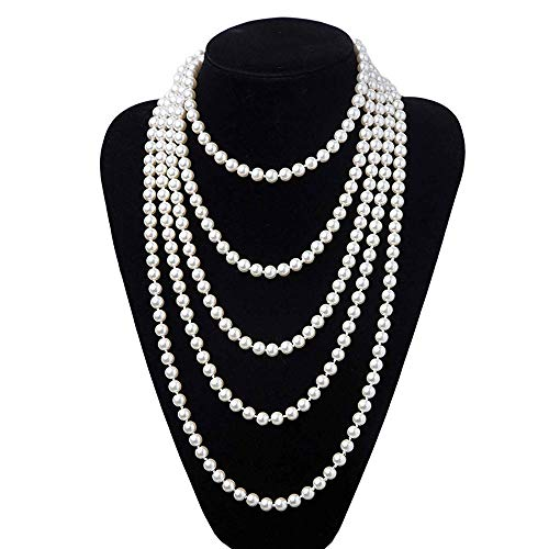 TUOKAY 1920s Pearls Beads Necklace for Women Girls, Fashion Imitation Faux Pearls Long Necklace Vintage Costume Jewelry Necklace 55 in. Diameter of Pearl 0.32 in. (Ivory) -