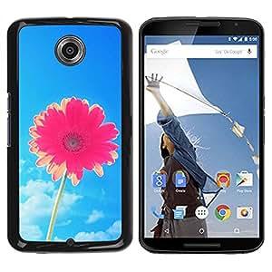 Paccase / SLIM PC / Aliminium Casa Carcasa Funda Case Cover para - Flower Blue Skies Pink Summer Sun - Motorola NEXUS 6 / X / Moto X Pro
