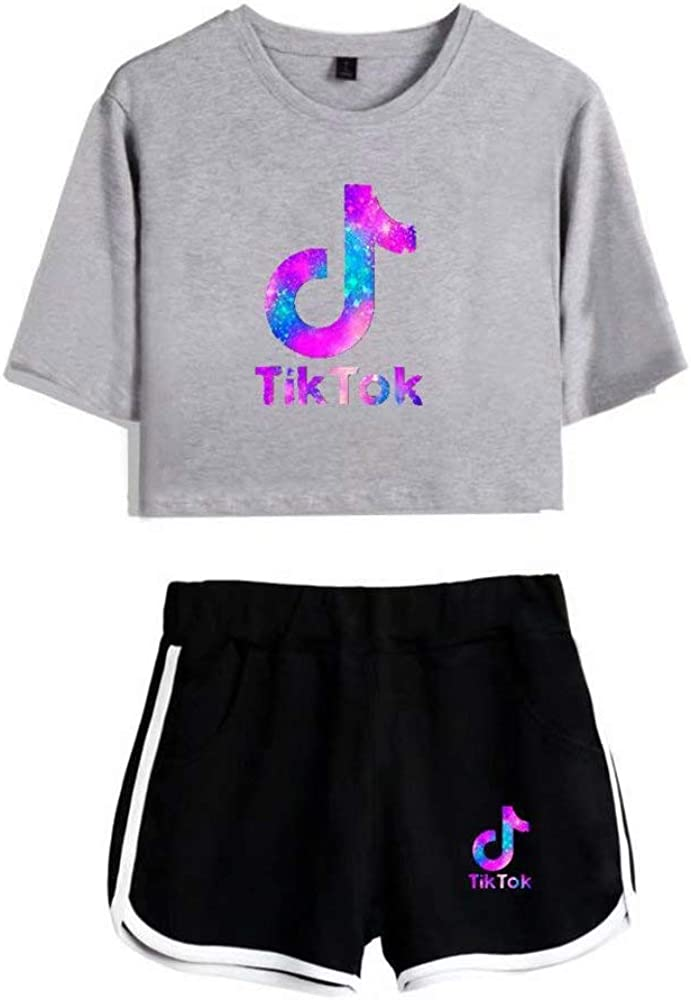 Womens T-Shirt with Shorts 2Pcs Set of Tracksuit Sportwear Suit for Girls Ladies