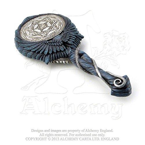 Mirror Hand Held Gothic Winged Angel of Beauty and Splendor Sigilum Aemeth in Midnight Blue