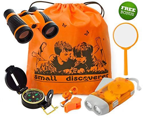 Explorer Kit Baby Binocular Flashlight Compass Magnifying Glass Whistle Backpack Play Kid Camping Gear Educational Toys Adventure Hiking Bird Watching Gift for 3-12 Year Old Boys (Orange)
