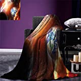 smallbeefly Space Digital Printing Blanket Dust Cloud Nebula Stars in Solar System Scene with Planet Earth Pluto and Neptune Summer Quilt Comforter Orange Blue