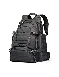 YAKEDA Tactical Backpack/Military Rucksacks/Sports Outdoor Military Bag/Compact Pack/Summit Bag for Hunting Shooting Camping Hiking TrekkingL-A88042(Black)