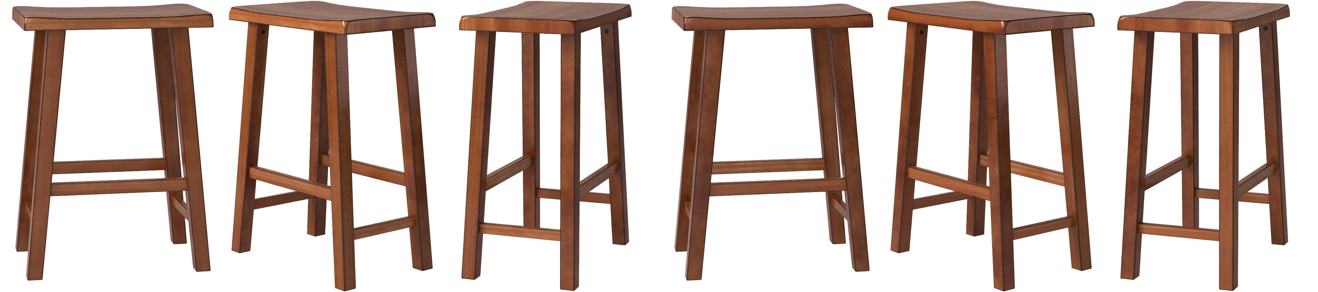 Amazon Com Ehemco Heavy Duty 29 Saddle Seat Barstools Dark Oak Set Of 3 Kitchen Dining