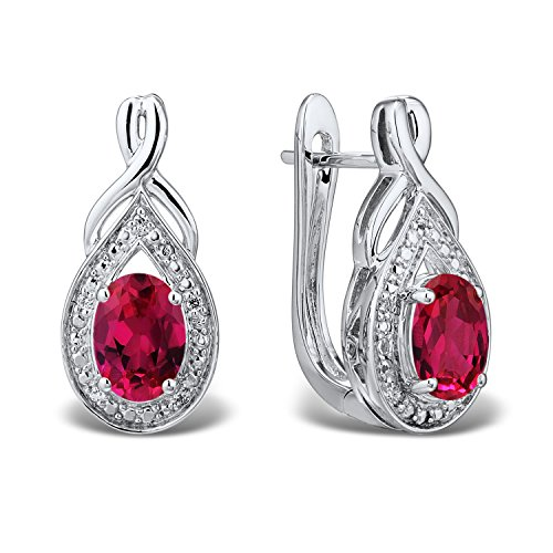 Lab Created Ruby Earrings with Diamond Accent in Rhodium Plated Sterling Silver