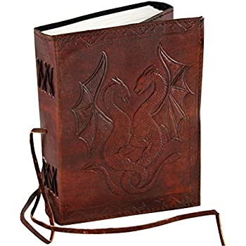 Universal Handmade Vintage Antique Looking Genuine Double Dragon Leather Bound Journal Diary Notebook Travel book with blank Unlined pages to write for Men Women Gift for him her