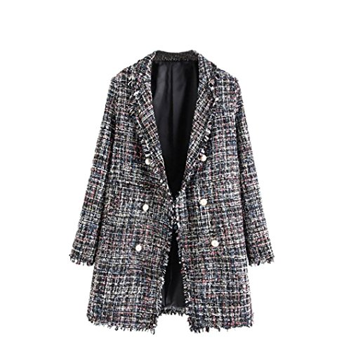 Tweed Fitted Jacket (Sunward Women's Fashion Double Breasted Pearl Buttons Fringe Tweed Jacket Coat Blazer,Overcoat, (Grey, S))