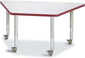 24 x 48 Maple//Maple//Gray Berries 6438JCM251 Trapezoid Mobile Activity Tables