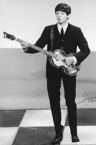 Paul McCartney The Beatles early 1960's in black suit playing guitar 24X36 - Paul Mccartney Poster
