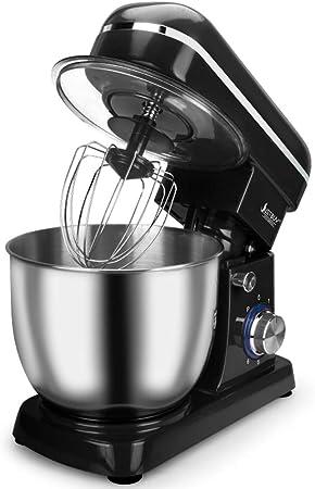 Robot de Cocina,1500W Batidora Amasadora Repostería,5 Litre Stainless Steel Mixing Bowl,6 Velocidades Robot Batidora Family Care Robot De Cocina,Negro: Amazon.es: Hogar