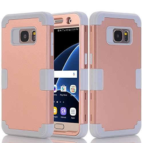 Galaxy S7 Case, Asstar Galaxy S7 - 3 in 1 Shockproof Hybrid Hard PC+ Soft TPU Impact Protection Scratch-Resistant Cover Absorption Bumper Full-Body Case for Samsung Galaxy S7 (Rose Gold+Grey)