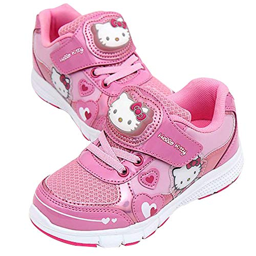 Joah Store Girl's Hello Kitty Light Up Pink Sneakers Cute Cat Heart Anti-Skid Comfy Shoes (11 M US Little Kid, Hello Kitty_A) ()