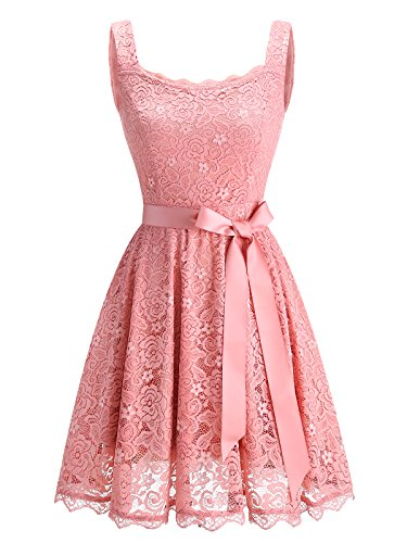 BeryLove Women's Floral Lace Bridesmaid Dress With Pockets Short Prom Dress Belt BLP7014BlushL