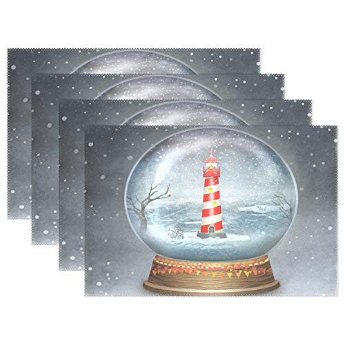 ALAZA Merry Christmas Glass Ball Lighthouse Placemats Dining Table Heat Resistant Kitchen Table Decor Washable Table Mats 1 ()