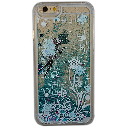 iPhone SE Case, SwiftBox Flowing Liquid Floating Bling Glitter Sparkle Stars Hard Case for iPhone 5 5S SE with 0.3mm Tempered Glass Screen Protector + Owl Phone Strap (Flying Fairy and Snowflakes)