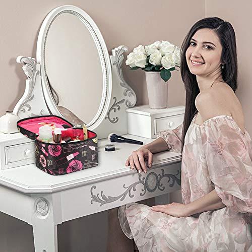 Shaui&Rulyn Women Portable Cosmetic Bag Cute Makeup Travel Case Multifunctional Make up Bag,Toiletry Bag Travel Bags for Women Girls (Polka Dots)