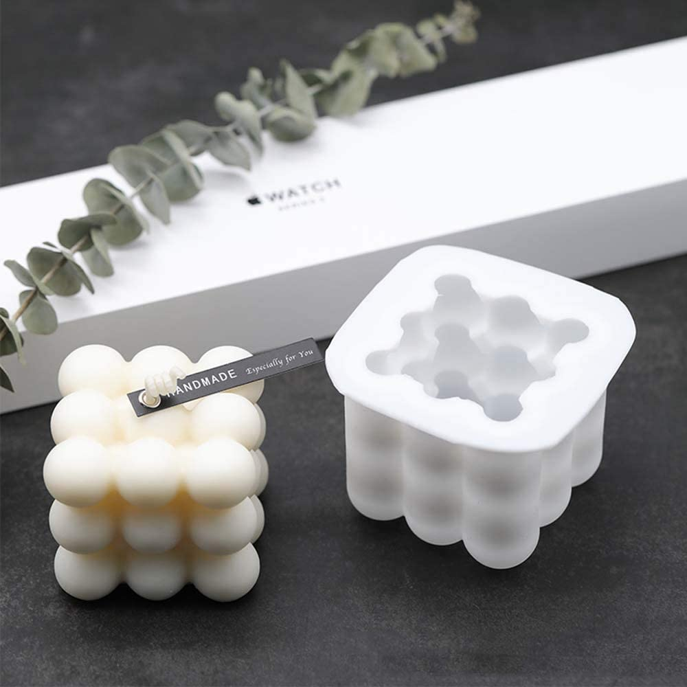 Jorzer Velas Molde De Silicona DIY 3D Bola Cubo De Molde para La Pasta De Az/úcar Artesan/ía Adornos Vela Perfumada Cera De Soja Jab/ón Blanco Grande