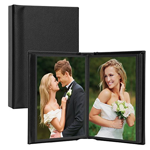 Neil Enterprises 4x6 Leather Self-Stick Photo Album - Holds 10 Photos,Black