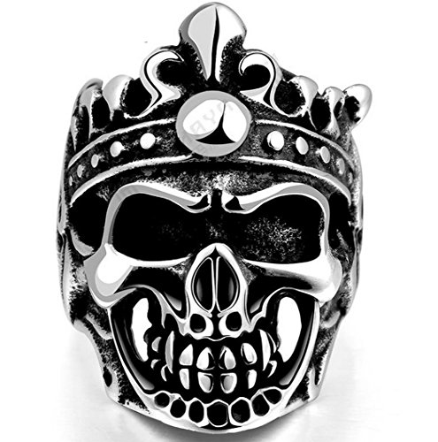 PSRINGS 316L Cool Biker Crown Hat Skull Black Silver Stainless Steel Rings Steel Soldier Domineering Skull 8.0