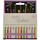 Toys : Grillkid Angel Flames Birthday Cake Candles with Colored Flames (12pcs per Box, Holders Included) (12, Medium)