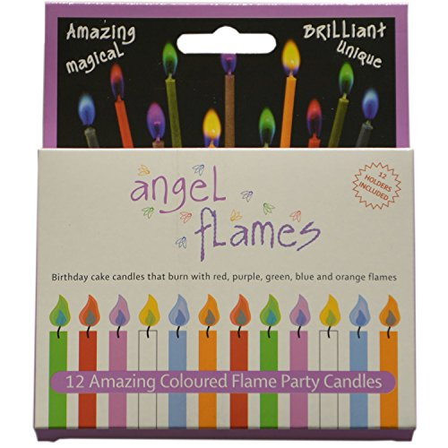 Grillkid Angel Flames Birthday Cake Candles with Colored Flames (12pcs per Box, Holders Included) (12, Medium)]()