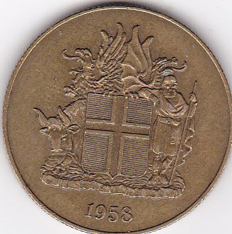 1958 Iceland 2 Kronur Coin - Large Coin