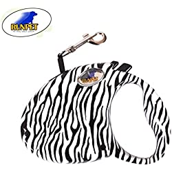 UNIQUE & TRENDY Retractable Dog Leash, 9.8ft Dog Walking Leash for Medium Small Dog Up to 50lbs, Break & Lock System, Reflective Ribbon Cord (zebra)