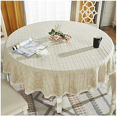 Mantel antimanchas Mesa Redonda de algodón y Mantel de Lino ...