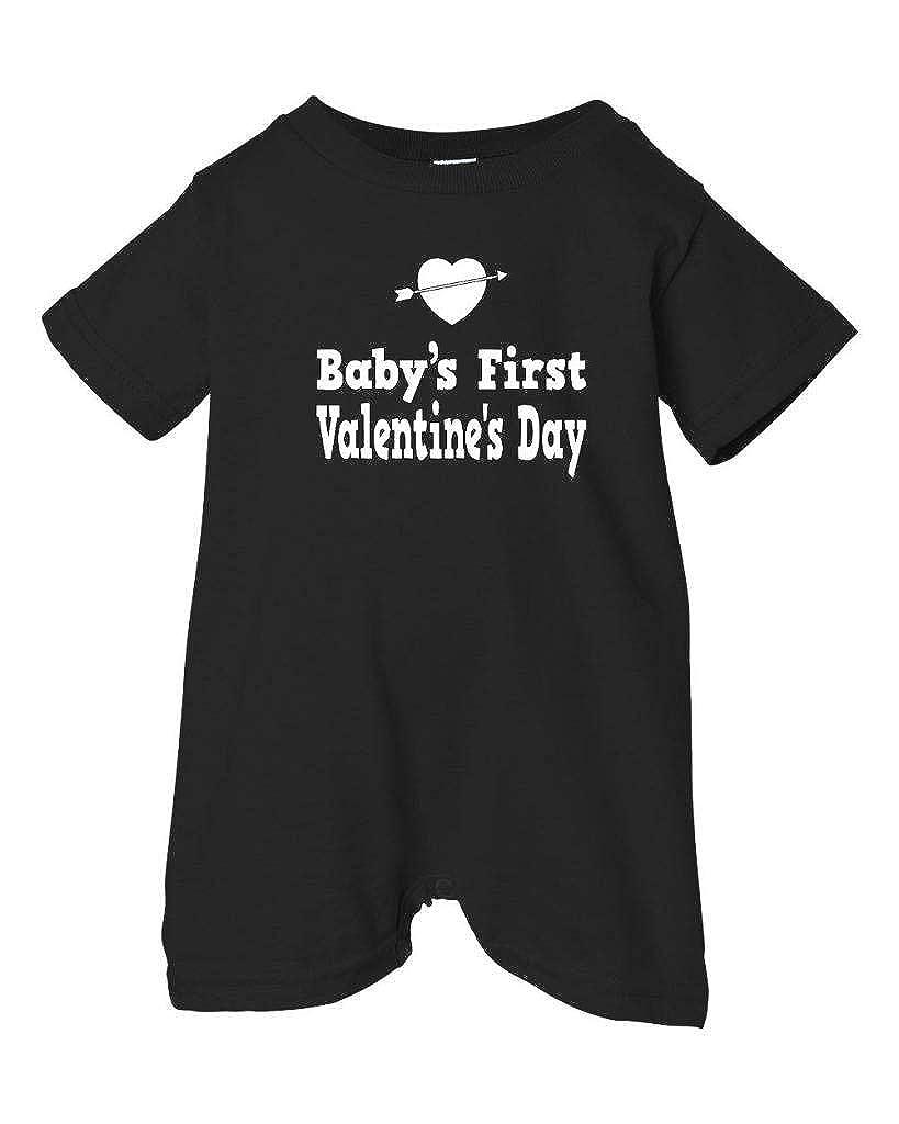 Festive Threads Unisex Baby Babys First Valentines Day T-Shirt Romper Black, 6 Months