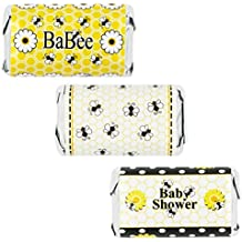 Bumble Bee Baby Shower Favors - Mini Candy Bar Wrapper Stickers, 54 Count