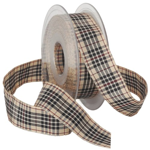 Morex BlackBerry Plaid Ribbon, 1-Inch by 22-Yard Spool, Natural