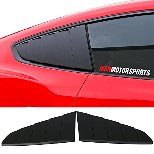 Window Louvers Fits 2015-2018 Ford Mustang | Rear Side Quarter Window Louvers Scoops Unpainted Black - PP by IKON MOTORSPORTS |  2016 2017 ()