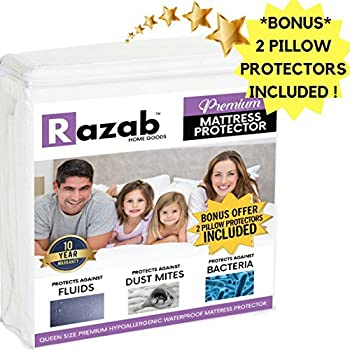 RAZAB Queen Hypoallergenic Waterproof Mattress Protector + (FREE) 2 Pk Pillow Protectors FDA Approved Vinyl Free Dust Mite Terry Cotton Topper Breathable Noiseless Mattress Protector