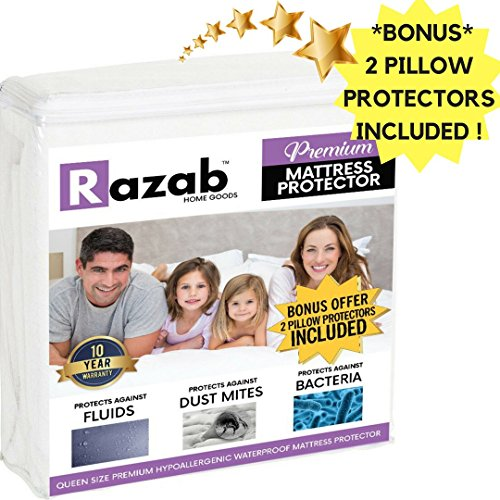 rgenic Waterproof Mattress Protector + (FREE) 2 Pk Pillow Protectors FDA Approved Vinyl Free Dust Mite Terry Cotton Topper Breathable Noiseless Mattress Protector (Foam Throat Protector)