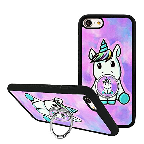 iPhone 7/iPhone 8 Case with Kickstand, Fashion Cartoon Unicorn Bumper Protective Case for iPhone 7/8 4.7 with Rotating Ring Holder Grip
