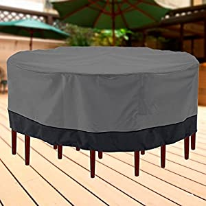 """NEH Outdoor Patio Furniture Table and Chairs Cover 94"""" Diameter Dark Grey with Black Hem - 100% Waterproof Winter Storage Cover Deck Patio Backyard Veranda Porch Table Covers by KapscoMoto"""