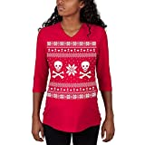 Old Glory Skull & Crossbones Ugly Christmas Sweater Red Maternity 3/4 Sleeve T-Shirt - X-Large