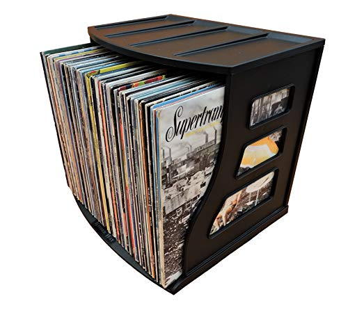 Vinyl Record Storage Crate, LP Album Holder, Holds Over 70 Records, Lever Arch Shelf, Office Desktop Organizer, Ring Binder Stand, Scrapbooking 12x12 Paper Rack Cube Box, Stackable, Brand- Binder Way
